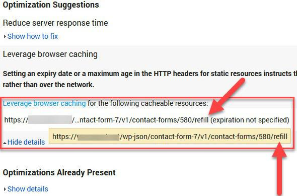 Ошибка refill кеширования при проверке сайта в Page Speed Insights