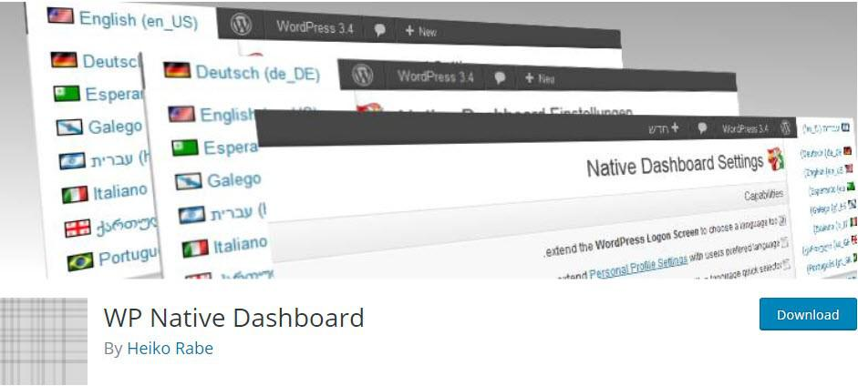 Внешни вид плагина WP Native Dashboard в репозитории плагинов WordPress