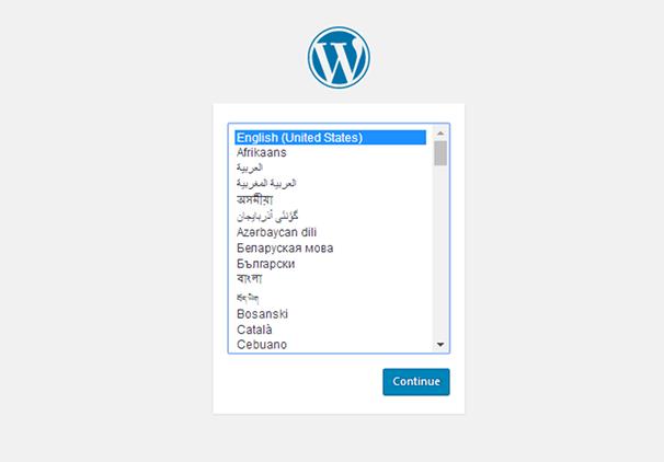 Установите WordPress - выберите язык