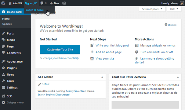 English WordPress Admin