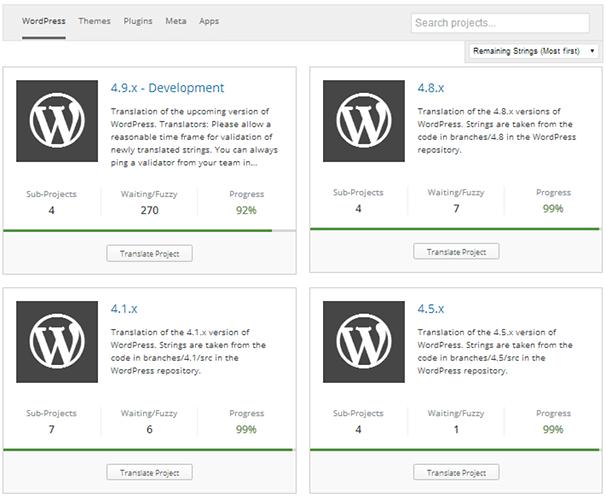 Основной перевод WordPress