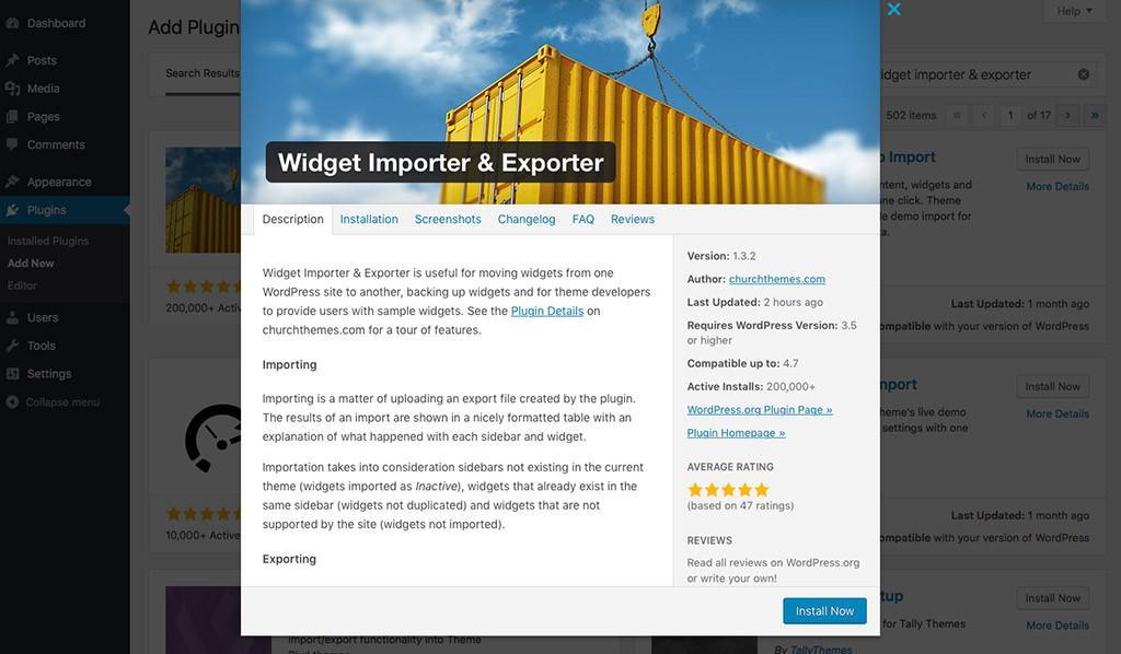 Плагин Widget Importer & Exporter в WordPress
