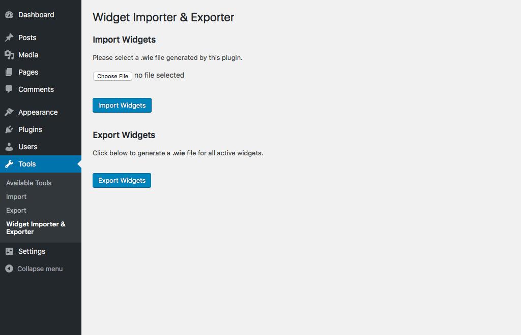Настройки плаина Widget Importer & Exporter в WordPress