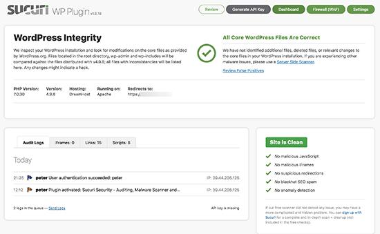Sucuri бесплатная панель антивирусного сканирования WordPress