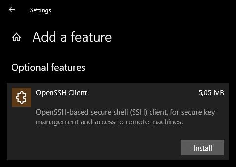 Windows 10 установить OpenSSH Client