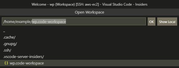 Открыть сохраненное удаленное рабочее пространство в VS Code
