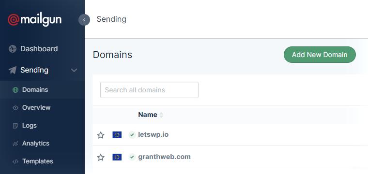 Список доменов в Mailgun