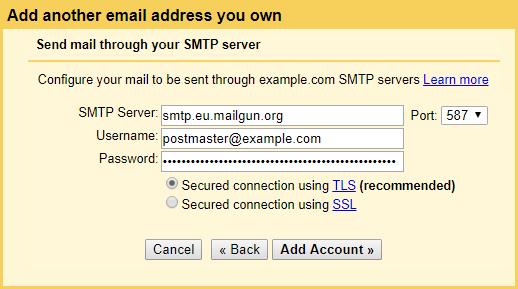 Добавить SMTP-сервер Mailgun в Gmail