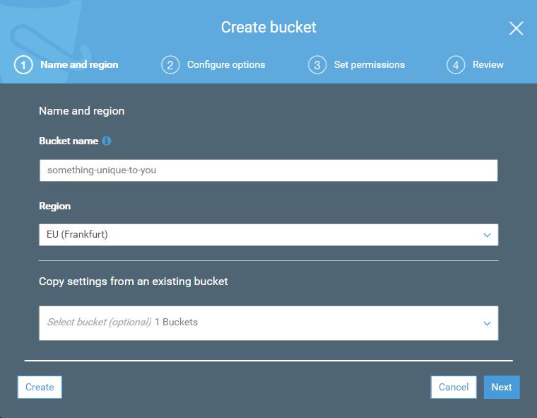 Создать Amazon S3 Bucket