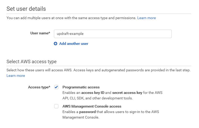 Установить программный доступ в AWS IAM