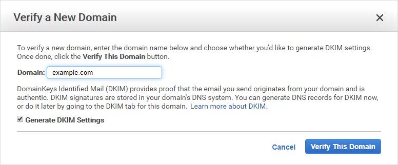 Amazon SES подтверждает диалог нового домена