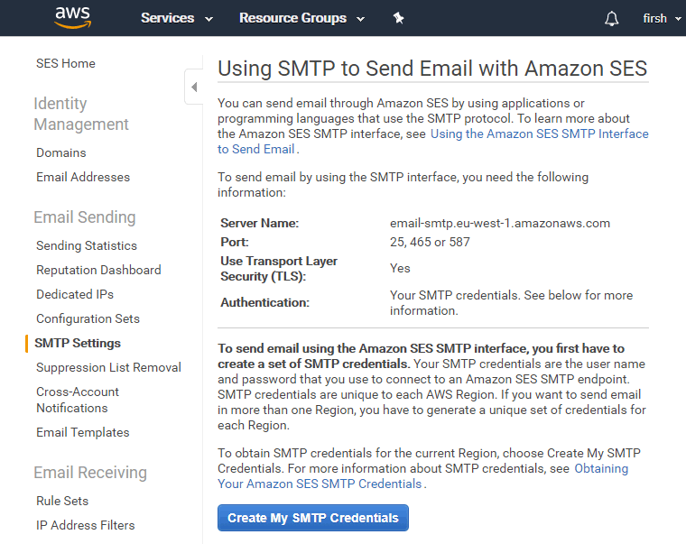 Настройки Amazons SES SMTP