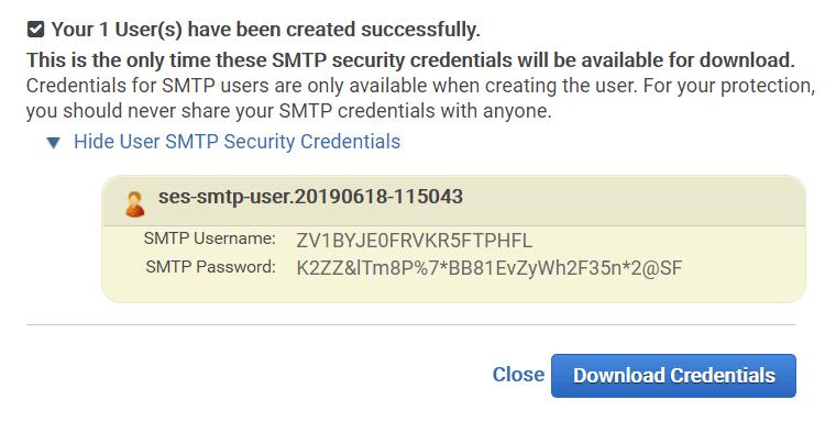 Учетные данные Amazon SES SMTP