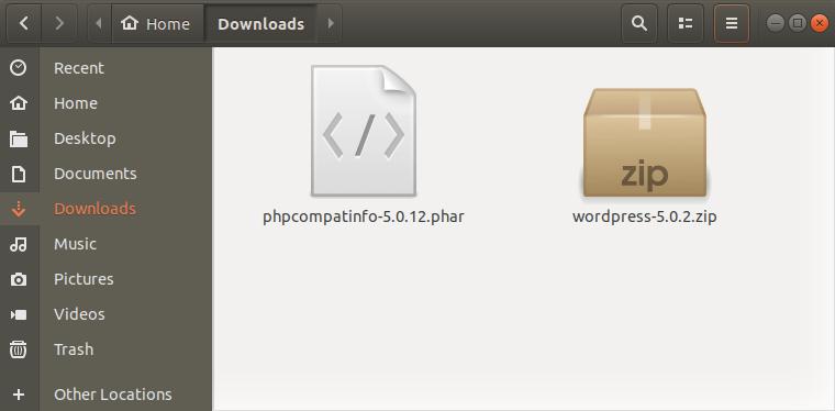 Окно файлов Ubuntu с PHP CompatInfo для определения минимально необходимой PHP-версии WordPress