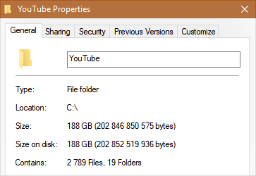 Размер папки YouTube