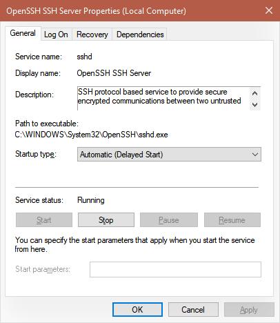 Служба сервера OpenSSH Автоматически (отложенный запуск)