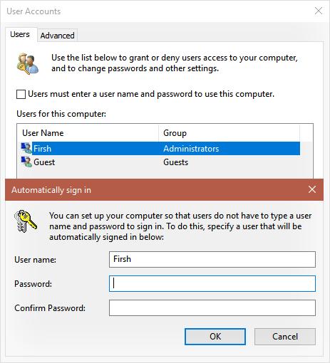 Пропустить экран входа в Windows 10