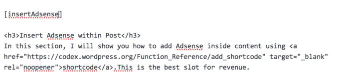 вставить AdSense, используя короткий код