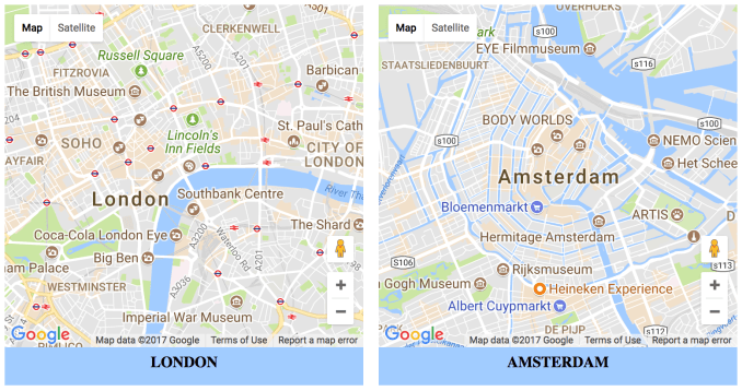 Несколько карт Google