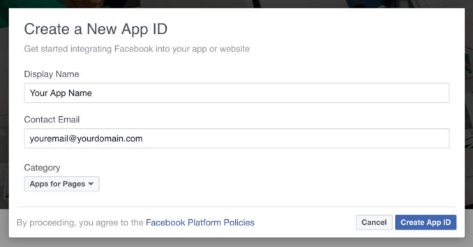 Создание приложения FB для Messenger Chat Bot