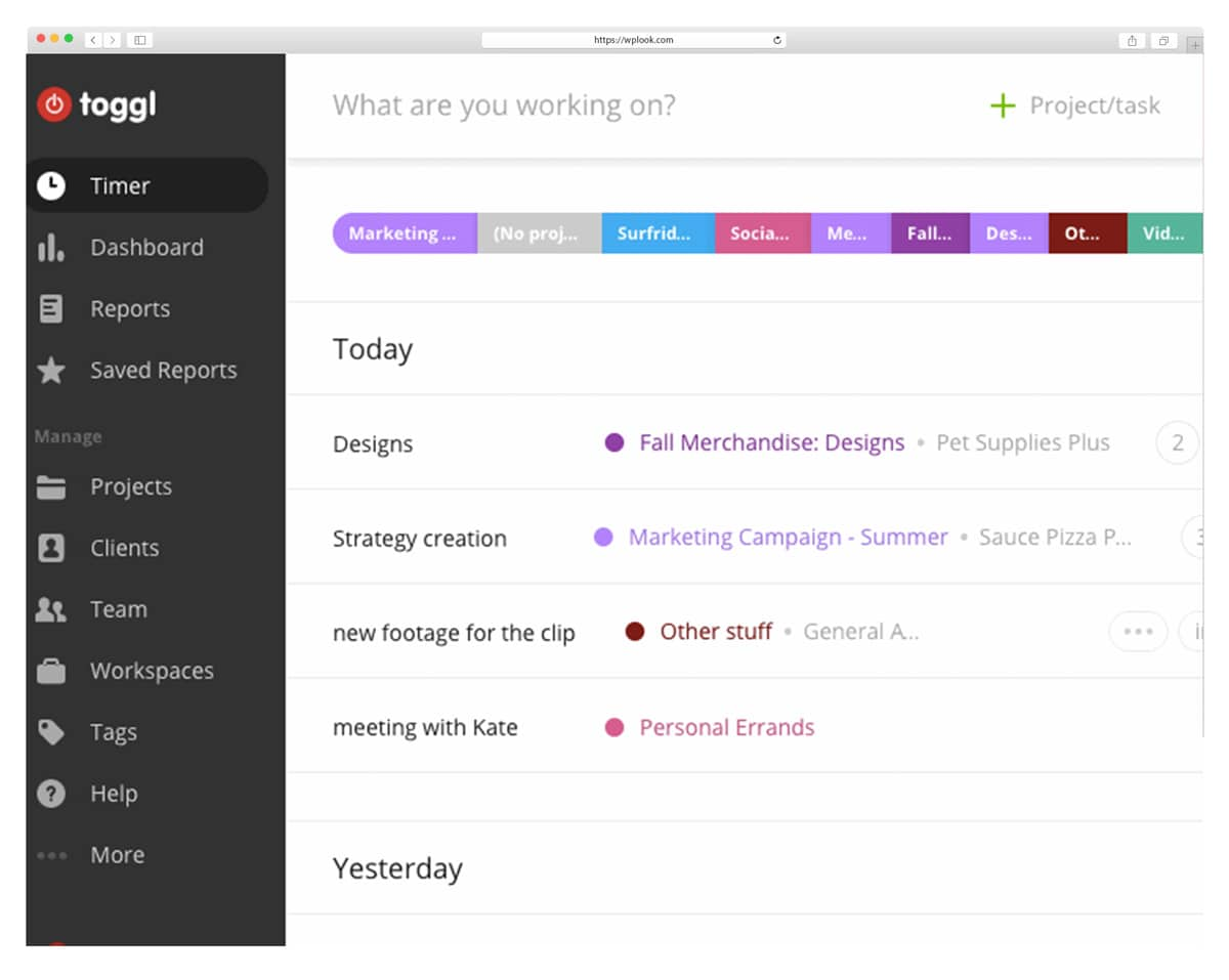 Togl - приложения для отслеживания времени для дизайнеров и разработчиков