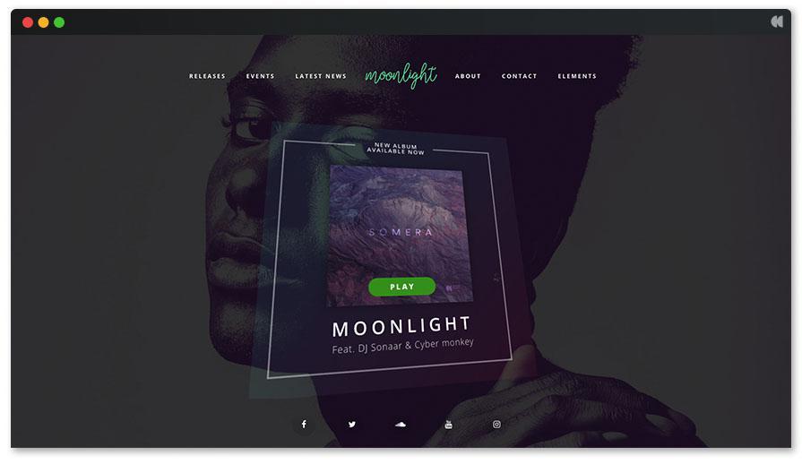 Лунная тема WordPress для певца