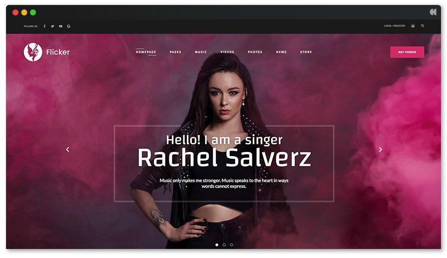 Flicker WP Theme для певца