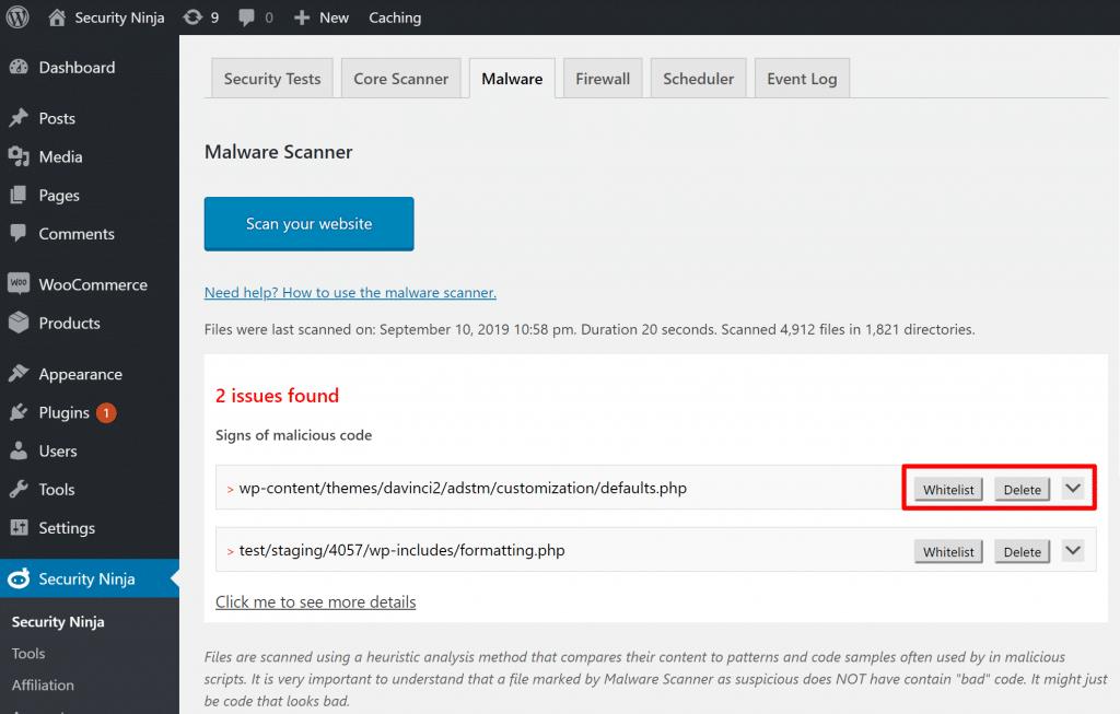 Security Ninja - простой в использовании плагин для безопасности WordPress