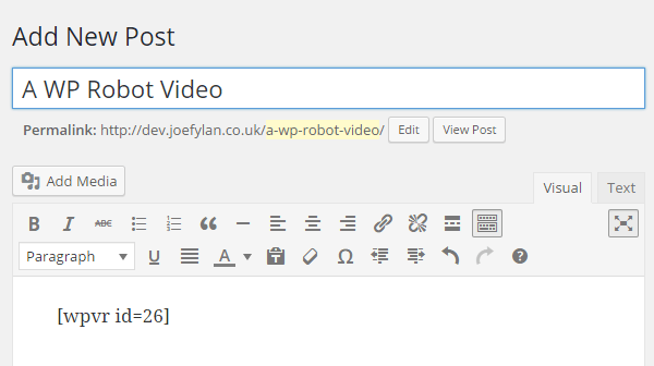 WP Video Robot Shortcode