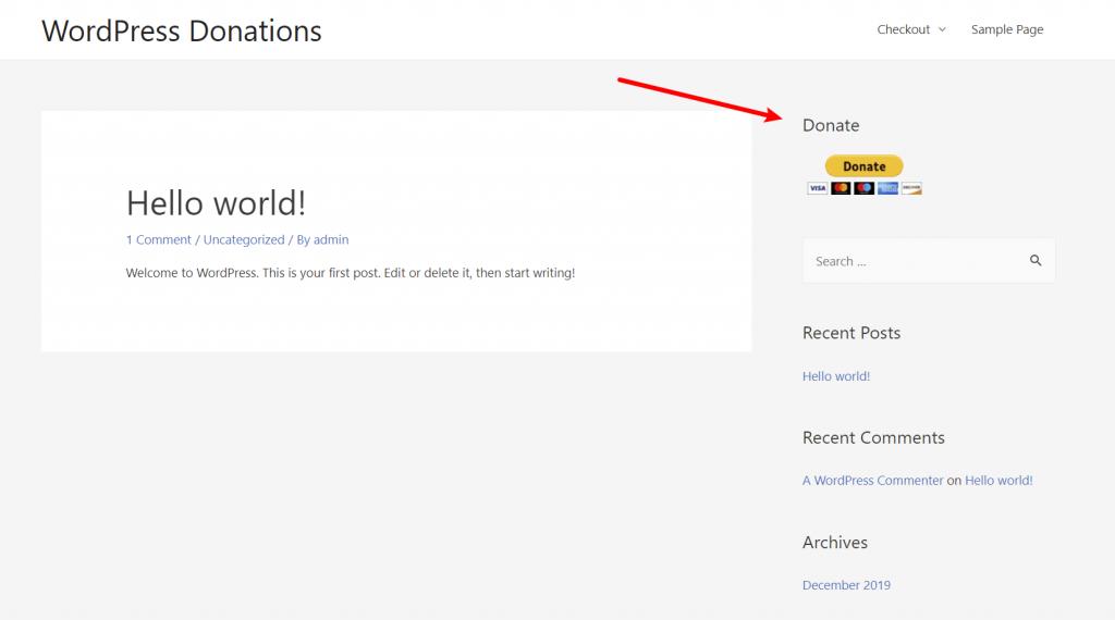 Кнопка пожертвования PayPal