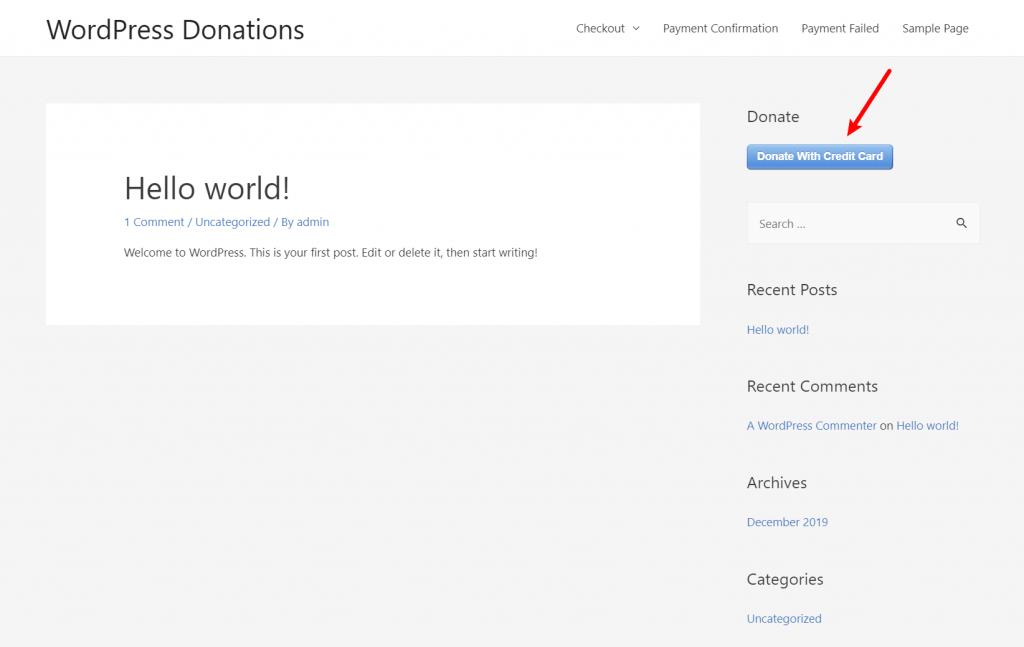 Простой плагин для пожертвований WordPress