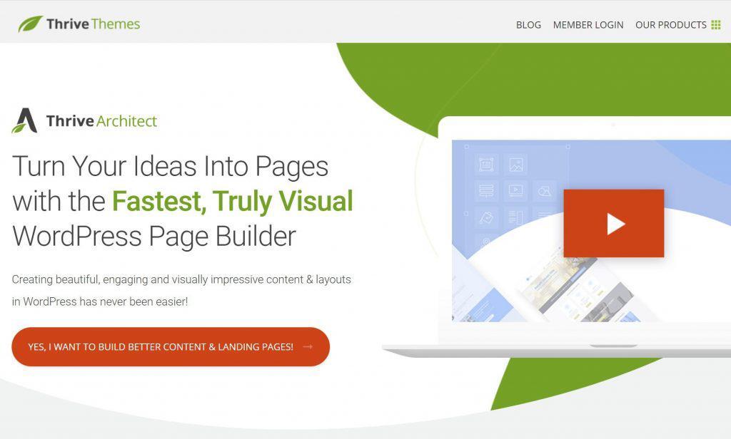 Плагин Thrive Architect WordPress для создания целевой страницы