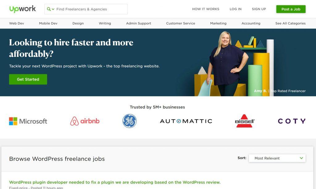 Upwork имеет большинство внештатных вакансий WordPress