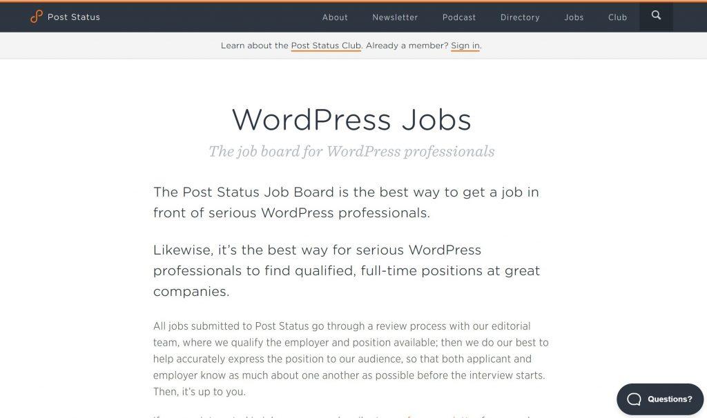 Статус публикации Доска объявлений WordPress включает в себя внештатные возможности