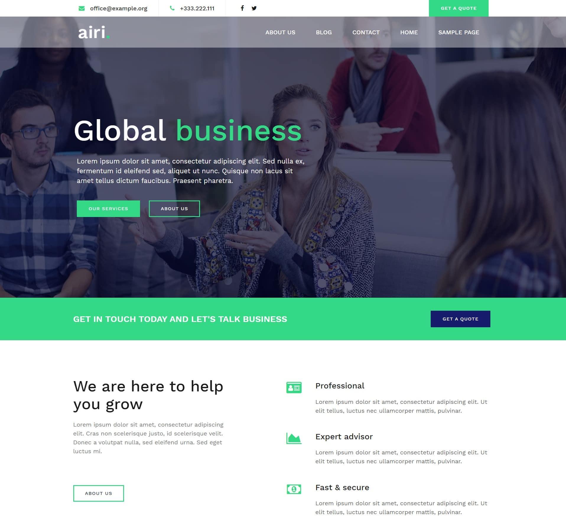 Airi Pro бизнес WordPress тема