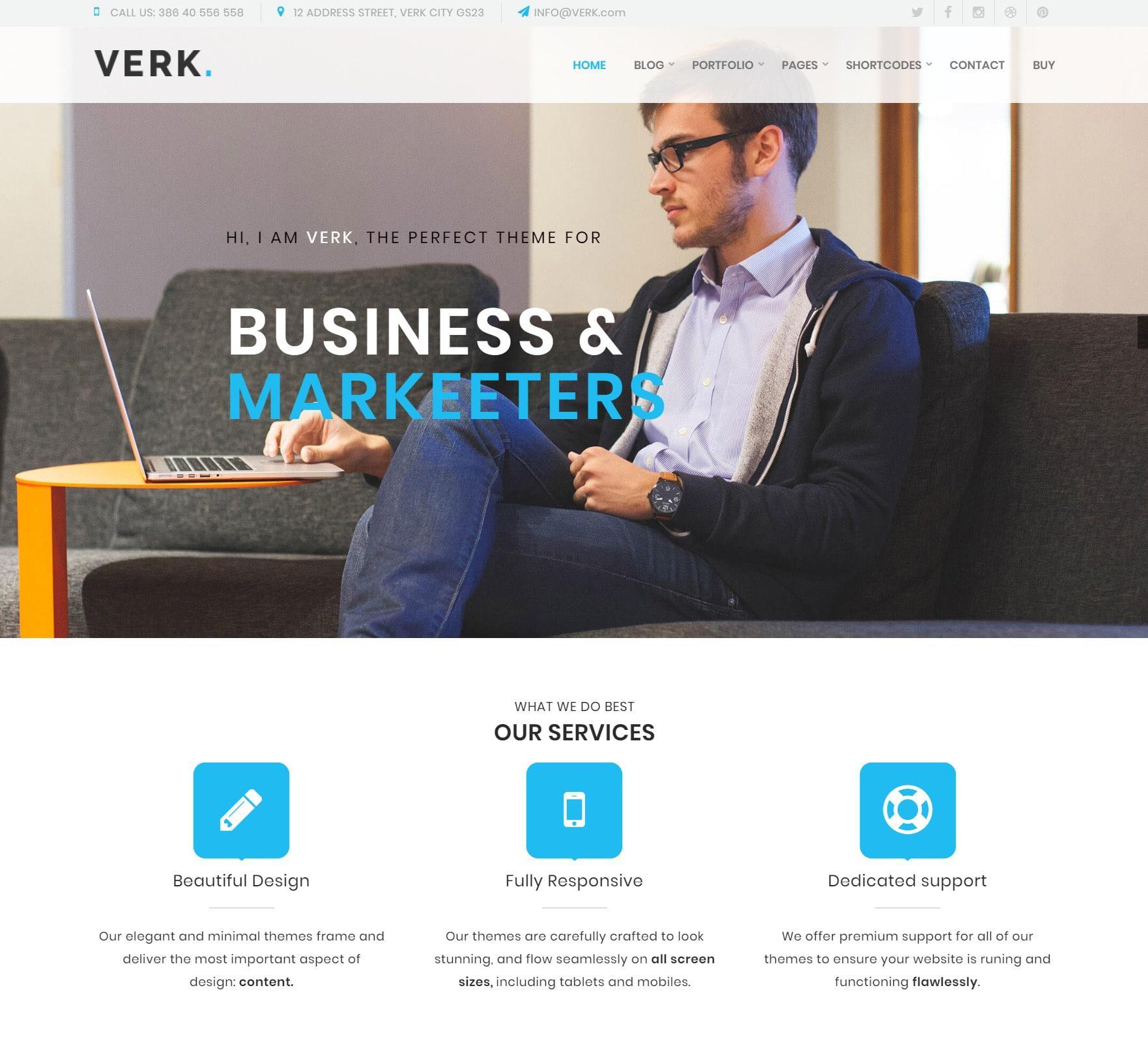 Verk Premium WordPress Тема для бизнеса