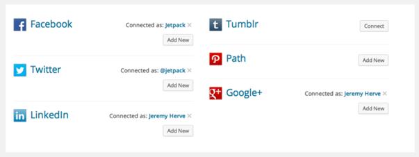 Социальные медиа Jetpack Publicize