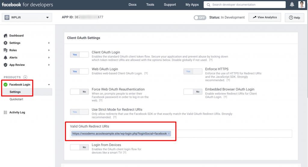 WordPress Социальный вход приложение Facebook