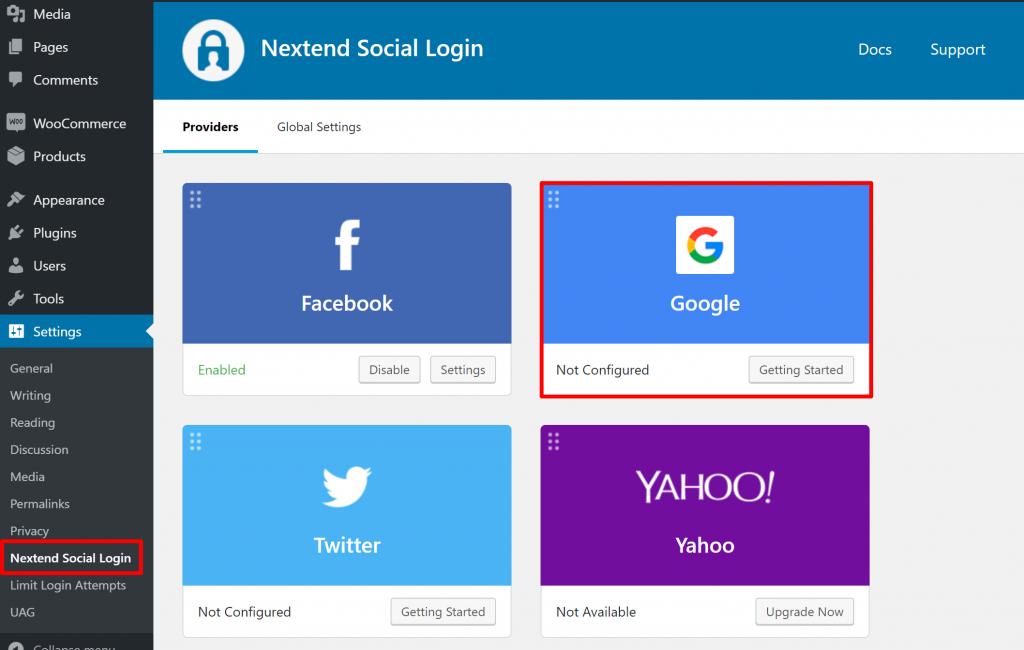 Активируйте Google Social login