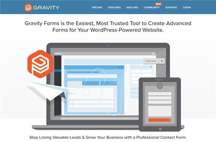 гравитационные формы WordPress плагин