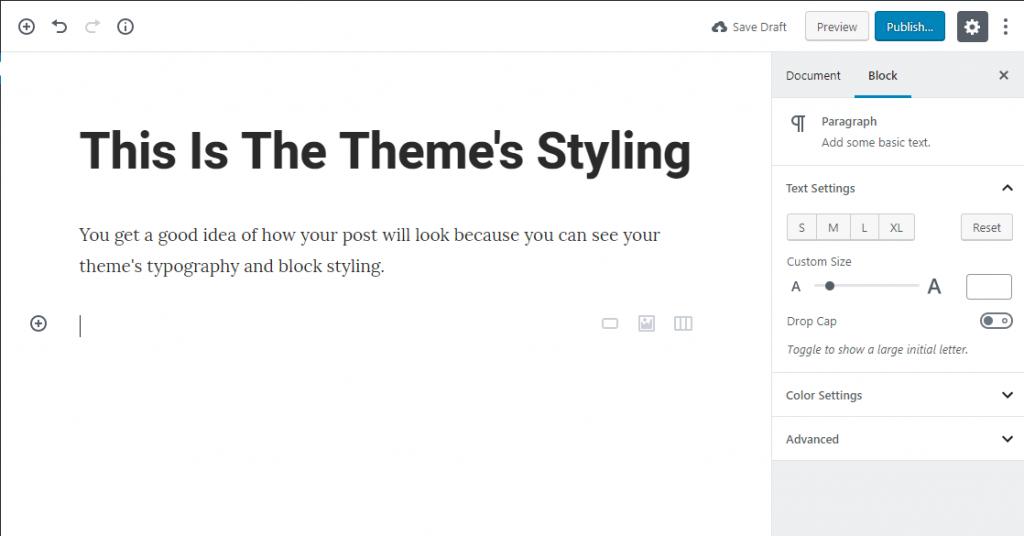 пример того, что делает Gutenberg-совместимые темы WordPress уникальными