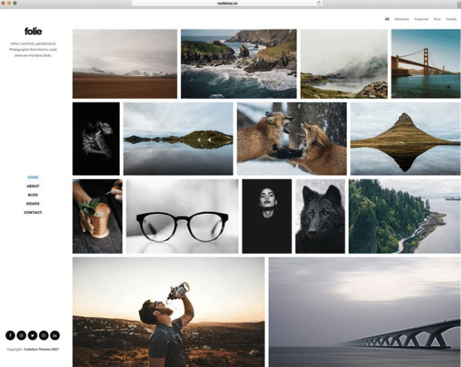 фолио WordPress тема фотографии