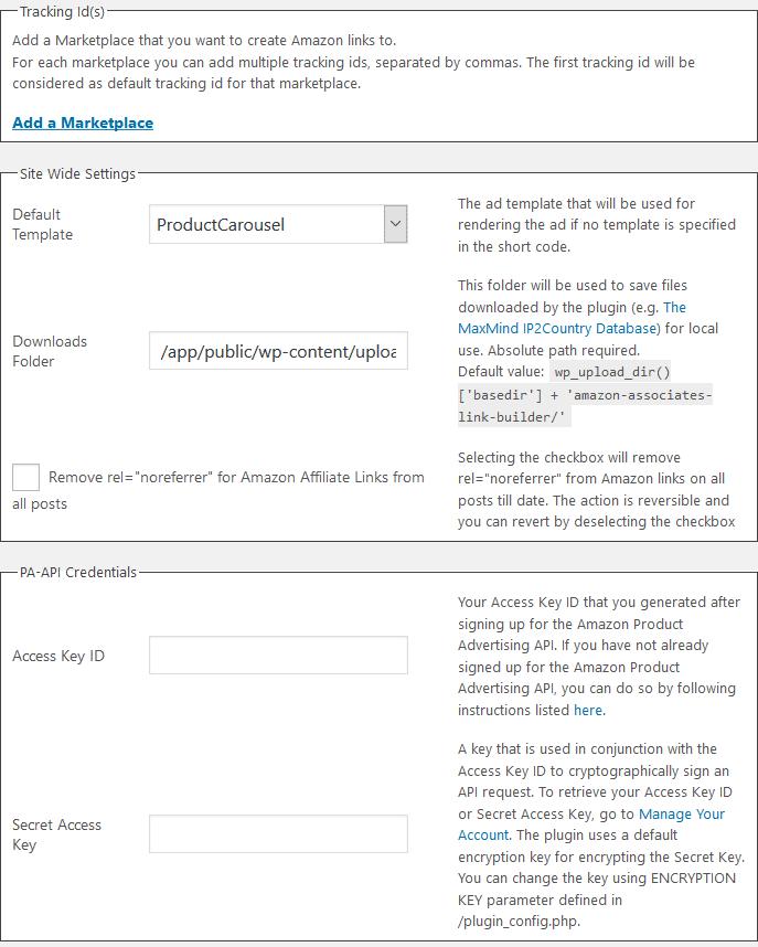 Настройки Официальный Амазонка филиалы плагин WordPress