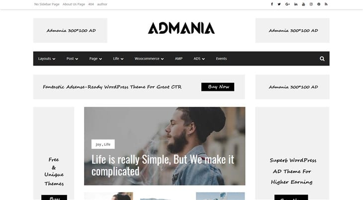 Тема Admania WP для партнеров Амазонки