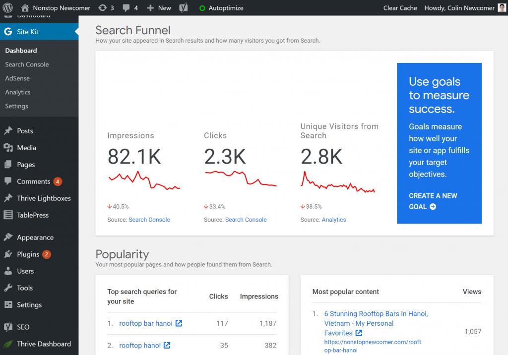 Google Site Kit для панели инструментов WordPress