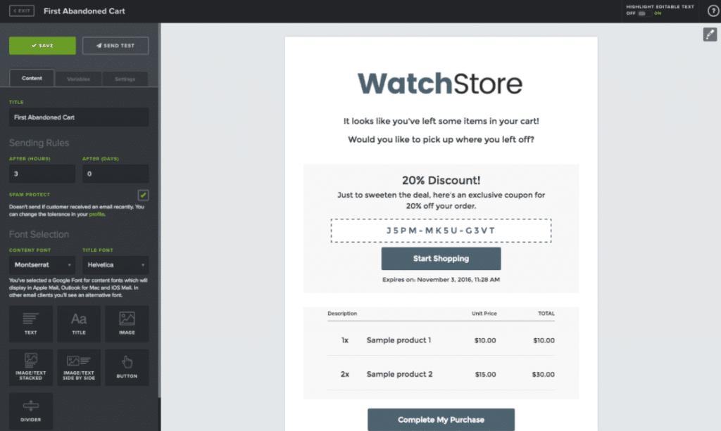 Conversio - хороший инструмент для заброшенной корзины WooCommerce