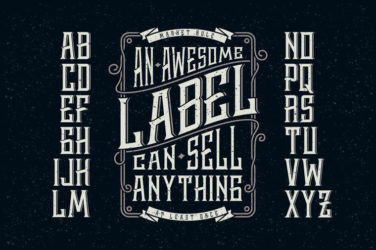 Виски этикетка + элементы дизайна шрифта.