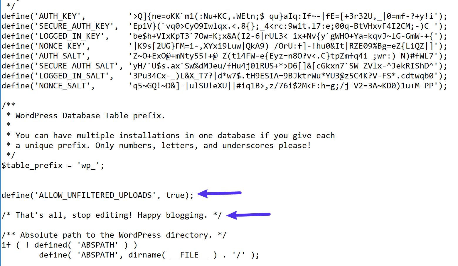 Где добавить код в ваш файл wp-config.php