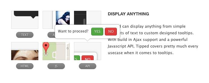 Это очень простая подсказка javascript, имеющая мощный javascript api и встроенная поддержка Ajax. Он показывает скриншот всплывающей подсказки с вариантами да нет и двумя кнопками.
