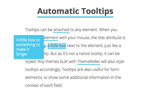 Это изображение всплывающей подсказки, прикрепленной к тексту. Эта подсказка сделана с помощью JavaScript и автоматически позиционируется. В тексте объясняется, что это не встроенная подсказка, поэтому его можно стилизовать и автоматически размещать на любом элементе в соответствии с заголовком attrinbute.